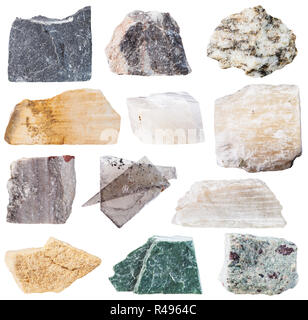 set from 12 specimens of natural stones - Stock Photo