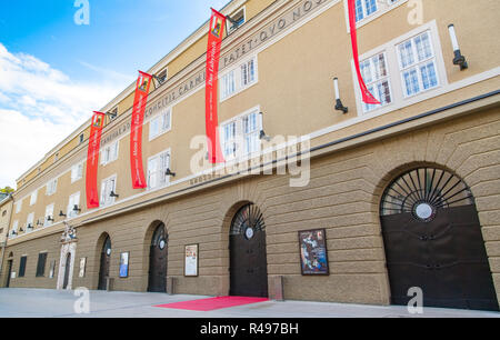 Classic view of Grosses Festspielhaus (Great Festival Hall), home to the world-famous Salzburg Festival, Salzburg, Austria - Stock Photo