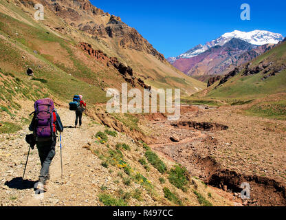 Hikers on their way to Aconcagua as seen in the background, Aconcagua National Park, Argentina, South America - Stock Photo