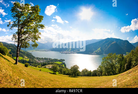 Beautiful landscape with Alps and Zeller See in Zell am See, Salzburger Land, Austria - Stock Photo