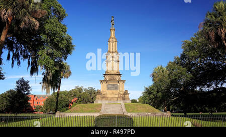 The Confederate Monument at Forsyth Park in Savannah, Georgia  is a memorial to local Civil War soldiers built in 1874 - Stock Photo