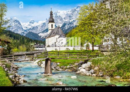Scenic mountain landscape in the Bavarian Alps with famous Parish Church of St. Sebastian in the village of Ramsau, Nationalpark Berchtesgadener Land, - Stock Photo