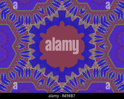 Abstract geometric seamless background. Delicate ornamental hexagon pattern with red brown, blue and purple elements. - Stock Photo