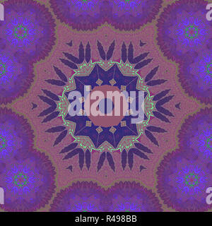 Abstract geometric seamless background. Dreamy floral ornament in red brown, violet and purple shades and dark blue, with green outlines. - Stock Photo