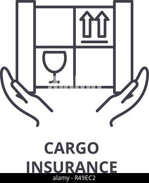Cargo insurance line icon concept. Cargo insuarance vector linear illustration, symbol, sign - Stock Photo