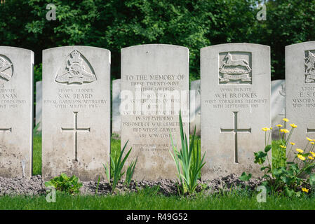 British Commonwealth war grave, headstones marking the graves of known and unknown British soldiers in the Garrison Cemetery in Poznan (Posen), Poland - Stock Photo