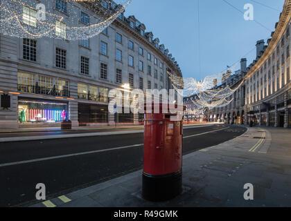 Christmas lights at dawn on Regent Street