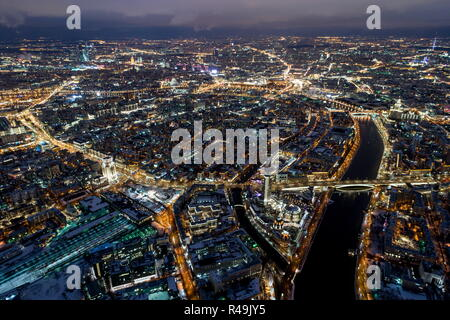 Moscow, Russia. 25th Nov, 2018. MOSCOW, RUSSIA - NOVEMBER 25, 2018: An aerial view of central Moscow at night. Sergei Bobylev/TASS Credit: ITAR-TASS News Agency/Alamy Live News - Stock Photo