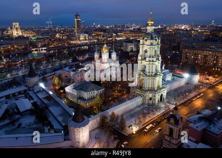 Moscow, Russia. 25th Nov, 2018. MOSCOW, RUSSIA - NOVEMBER 25, 2018: An aerial view of the Novospassky Monastery. Sergei Bobylev/TASS Credit: ITAR-TASS News Agency/Alamy Live News - Stock Photo