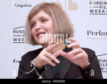 London, UK. 25th Nov, 2018. LONDON, UNITED KINGDOM - NOVEMBER 25, 2018: Russian director Avdotya Smirnova speaks at a press conference by the crew of her drama film The Story of an Appointment (2018) presented at Russian Film Week. Ilya Dmitryachev/TASS Credit: ITAR-TASS News Agency/Alamy Live News - Stock Photo