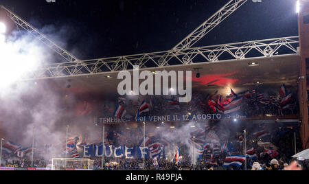 Genoa, Italy. 25th Nov, 2018. Supporters (Sampdoria) during the Italian 'Serie A' match between Genoa 1-1 Sampdoria at Luigi Ferraris Stadium on November 25, 2018 in Genova, Italy. Credit: Maurizio Borsari/AFLO/Alamy Live News - Stock Photo