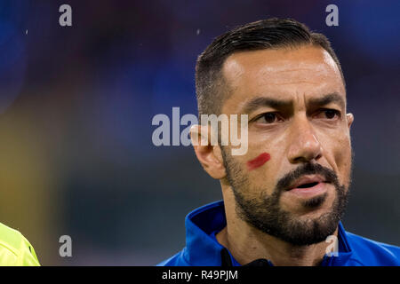 Genoa, Italy. 25th Nov, 2018. Fabio Quagliarella (Sampdoria)  during the Italian 'Serie A' match between Genoa 1-1 Sampdoria at Luigi Ferraris Stadium on November 25 , 2018 in Genova, Italy. (Photo by Maurizio Borsari/AFLO) - Stock Photo