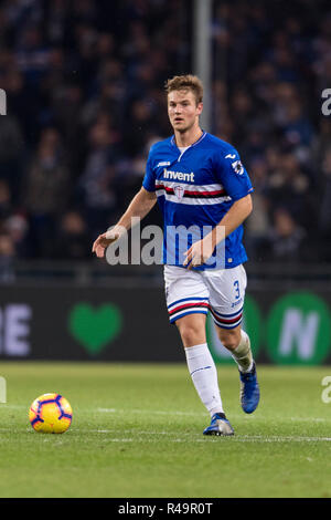 Genoa, Italy. 25th Nov, 2018. Joachim Andersen (Sampdoria) during the Italian 'Serie A' match between Genoa 1-1 Sampdoria at Luigi Ferraris Stadium on November 25, 2018 in Genova, Italy. Credit: Maurizio Borsari/AFLO/Alamy Live News - Stock Photo