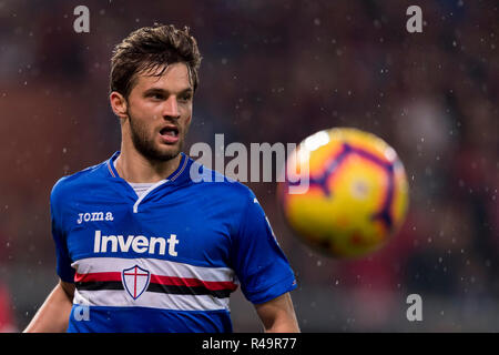 Genoa, Italy. 25th Nov, 2018. Bartosz Bereszynski (Sampdoria) during the Italian 'Serie A' match between Genoa 1-1 Sampdoria at Luigi Ferraris Stadium on November 25, 2018 in Genova, Italy. Credit: Maurizio Borsari/AFLO/Alamy Live News - Stock Photo