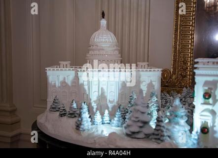 The 2018 White House Christmas decorations, with the theme 'American Treasures' which were personally selected by first lady Melania Trump, are previewed for the press in Washington, DC on Monday, November 26, 2018. The traditional White House gingerbread house on display in the State Dining Room. This year it shows the National Mall with the White House as it's centerpiece. The gingerbread US Capitol is shown in this photo. Credit: Ron Sachs/CNP | usage worldwide - Stock Photo