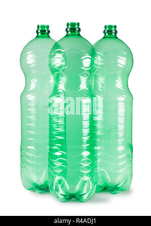 Studio shot of three plastic water bottles isolated on a white background - John Gollop - Stock Photo