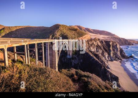 Sunset view of Bixby Creek Bridge on Highway 1, Big Sur, California - Stock Photo