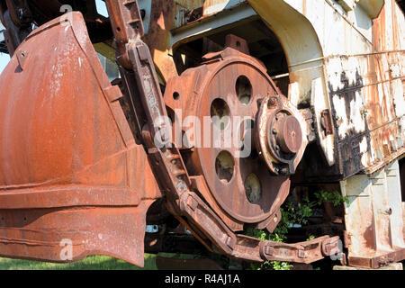 Detail of a gigantic lignite excavator in the disused opencast mining Ferropolis - Stock Photo