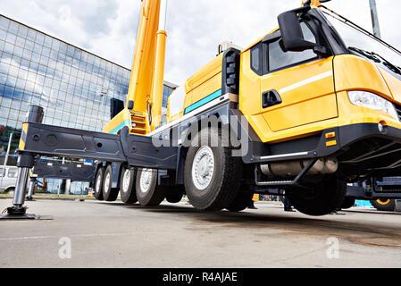 Mobile crane off-road capability in exhibition - Stock Photo
