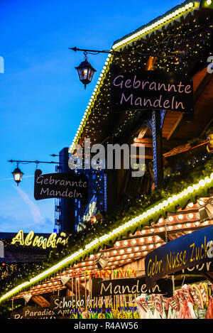 almonds, sweets, confectionery, christmas market, Dortmund, Ruhr district, North Rhine-Westphalia, Germany - Stock Photo