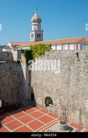 Frankopan castle and St Mary's Basilica, Krk, Krk Island, Kvarner Bay, Croatia - Stock Photo