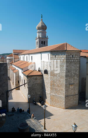 St Mary's Basilica, Krk, Krk Island, Kvarner Bay, Croatia - Stock Photo
