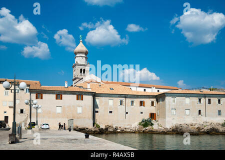 Tower of St Mary's Basilica and old town, Krk, Krk Island, Kvarner Bay, Croatia - Stock Photo