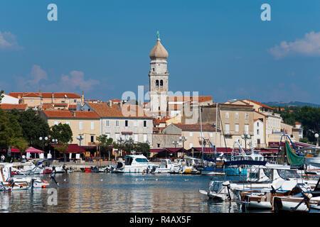 Harbour and St Mary's cathedrale, Krk, Krk Island, Kvarner Bay, Croatia - Stock Photo