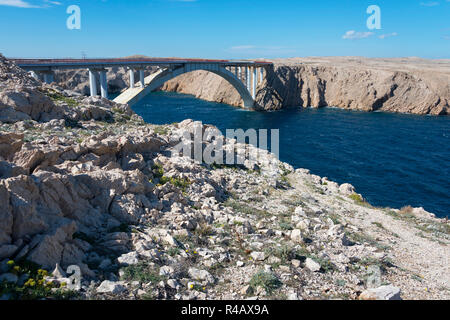 Bridge Paski Most, Pag Island, Dalmatia, Croatia - Stock Photo