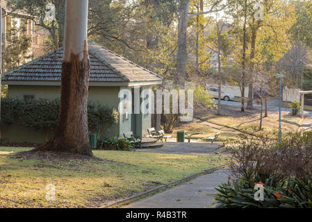 Morning sun filters through the gum trees and washes over the old club house change rooms in Werona Park, Gordon in Sydney - Stock Photo