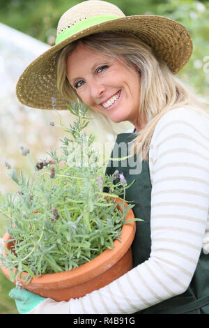 Portrait of beautiful woman gradening aromatic plants - Stock Photo