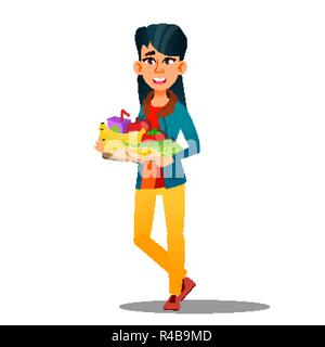 Happy Vegan Girl With Plate Of Fruits And Vegetables Vector. Isolated Cartoon Illustration - Stock Photo