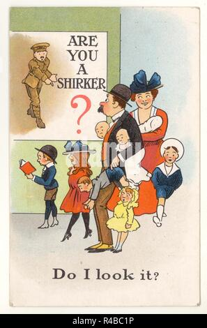 WW1 era illustrated humorous patriotic postcard entitled 'Are You a Shirker' - poking fun of the Parliamentary Recruiting Committee poster  designed to shame 'shirkers' into joining the army.  posted 9 Aug 1918, U.K. - Stock Photo