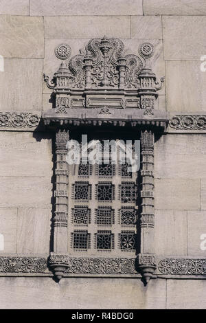 Carved window at Rani Sipri's Mosque, Ahmedabad, Gujarat, India, Asia - Stock Photo