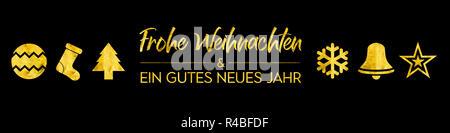 Banner with golden elements - Merry Christmas and  Happy new year in german  - Frohe Weihnachten und ein gutes neues Jahr - Stock Photo