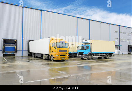 Truck in warehouse - Cargo Transport - Stock Photo