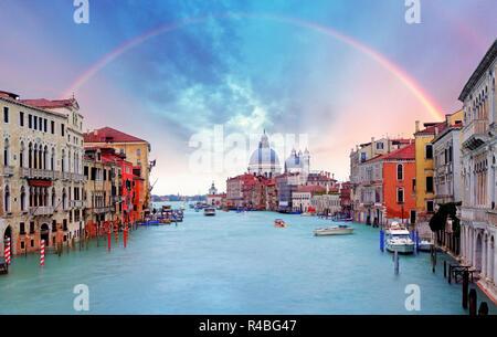 Venice - Rainbow over Grand Canal - Stock Photo