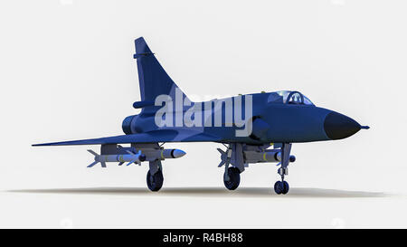 a military combat jet in front of isolated background(3d rendering) - Stock Photo