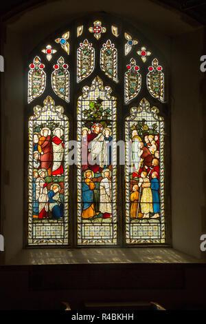 Stained glass window church of Saint John, Saxmundham, Suffolk, England, UK - Sermon on the Mount, Harry Ellis Wooldridge for Powell and Sons, 1875 - Stock Photo