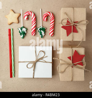 Candy Canes Flat Lay On White Wooden Background Christmas And New