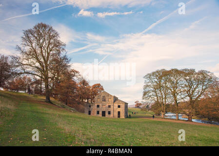 James Paine`s mill , a successful architect of the mid 18th century created the corn mill situated at Chatsworth Park in the peak district England UK. - Stock Photo