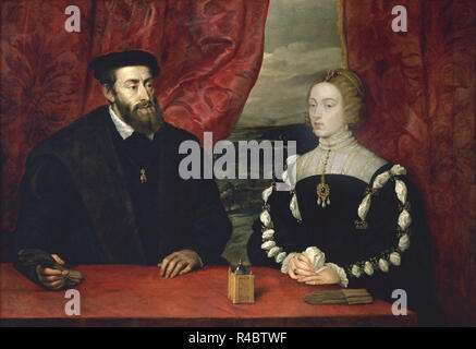 'Charles V and Empress Isabel', ca. 1628, Oil on canvas, 114 x 164 cm. Author: RUBENS, PETER PAUL. Location: PRIVATE COLLECTION. MADRID. SPAIN. - Stock Photo
