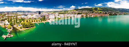Aerial view of Zug old town with colorful houses, Zugersee and Rigi mountain, Zug, Switzerland, Europe. - Stock Photo