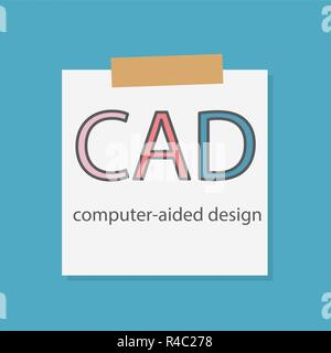 CAD Computer-aided design rate written in a notebook paper- vector illustration - Stock Photo