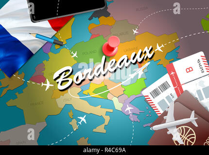 Bordeaux city travel and tourism destination concept. France flag and Bordeaux city on map. France travel concept map background. Tickets Planes and f - Stock Photo