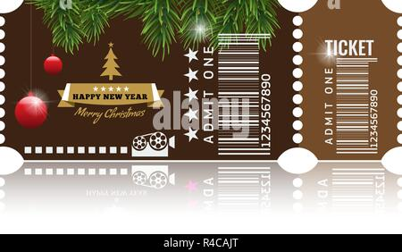 christmas or new year party ticket card design template vector illustraton brown color