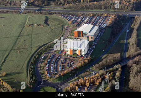 aerial view of two office buildings (including Lowell Financial Ltd), on Savannah Way, Leeds Valley Park, Leeds 10, West Yorkshire - Stock Photo