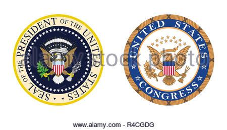 United States Politics - Presidential and Congress logo symbol - Stock Photo