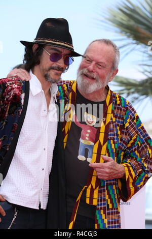 CANNES, FRANCE – MAY 19, 2018: Óscar Jaenada Gajo and Terry Gilliam at the 'The Man Who Killed Don Quixote' photocall at the 71st Cannes Film Festival - Stock Photo