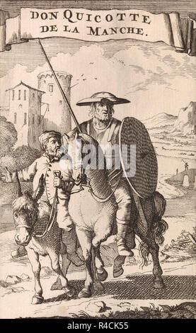Title page of a 1696 French edition of  Don Quixote de la Mancha by Miguel de Cervantes showing Don Quixote on horseback followed by his servant Sancho Panza riding a donkey. - Stock Photo